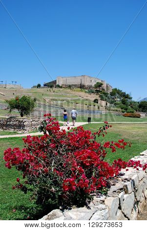 Sohail castle with the castle gardens in the foreground Fuengirola Malaga Province Andalucia Spain Western Europe.
