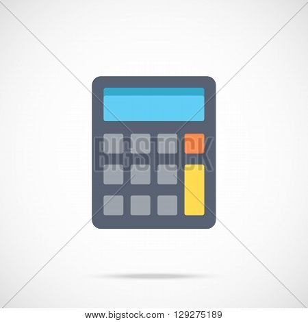 Vector calculator icon. Flat calculator icon. Flat design vector illustration for web banner, web and mobile, infographics. Vector calculator graphic. Vector icon isolated on gradient background