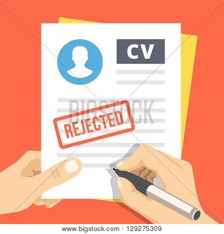 CV rejection. Hand with pen sign a job application. Human resources, firing concepts. Modern flat design for web banners, web sites, infographic. Flat vector illustration isolated on red background