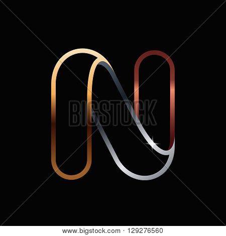 N Letter One Line Golden Logo.