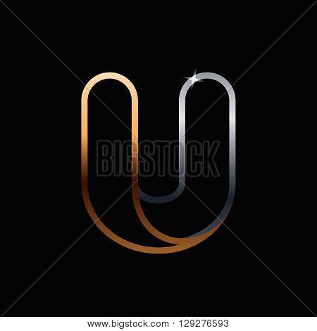 U Letter One Line Golden Logo.