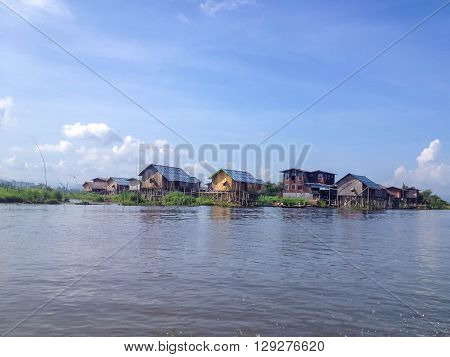 INLE LAKE MYANMAR - MAY 26 2014 : A house on bamboo stilts in Inle Lake Myanmar