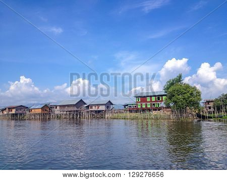 A house on bamboo stilts in Inle Lake Myanmar