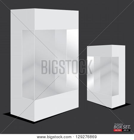 Box Packaging Design. White box packaging on a dark grey background.