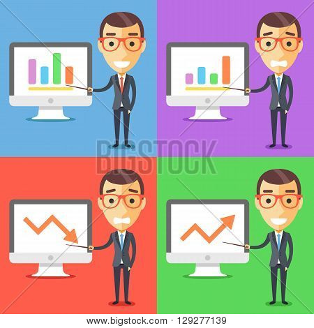 Business characters set. Businessman with pointer and presentation on computer screen. Modern flat design concept for web banner, website, printed materials, infographics. Creative vector illustration