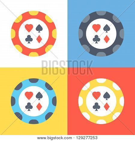 Poker chip icons set. 4 poker chips vector icons