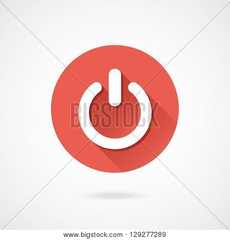 Shut down icon. Vector round shutdown icon with long shadow isolated on gradient background