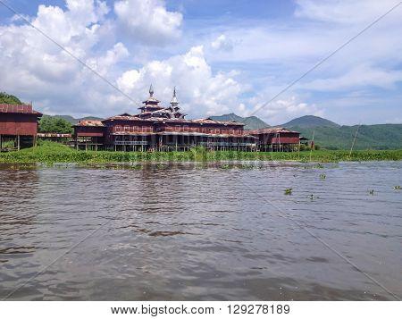 Wooden burmese buddhist monastery on the Inle lake Myanmar