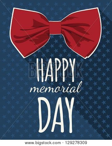 Happy Memorial Day. Red bow tie and stars as the symbol of the United States. Vector illustration.