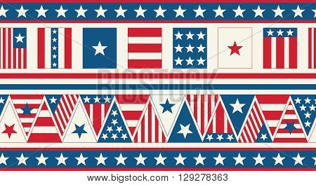 American Flag Banner. Fourth of July Burlap Party Banner.
