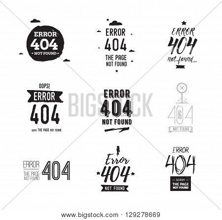 404 error web page. Typographic design elements. Page not found vector. Isolated on white backround. Usable for web or t-shirt concept.