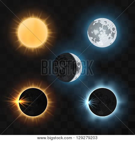 Sun and moon and sun and moon eclipses. Sun eclipse, moon eclipse, dark eclipse sun or moon, nature eclipse sun and moon. Vector illustration