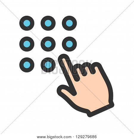 Password, mobile, lock icon vector image.Can also be used for user touch gestures. Suitable for mobile apps, web apps and print media.