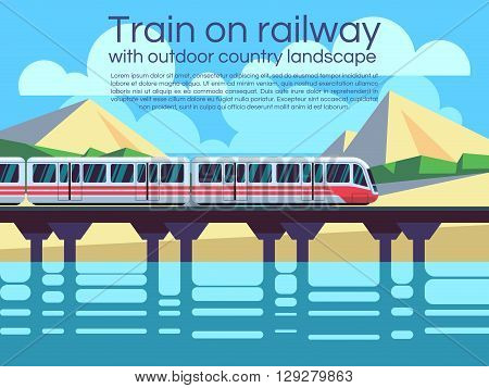 Train on railway with outdoor country landscape. Vector travel concept background. Train outdoor, transportation train, travel train illustration