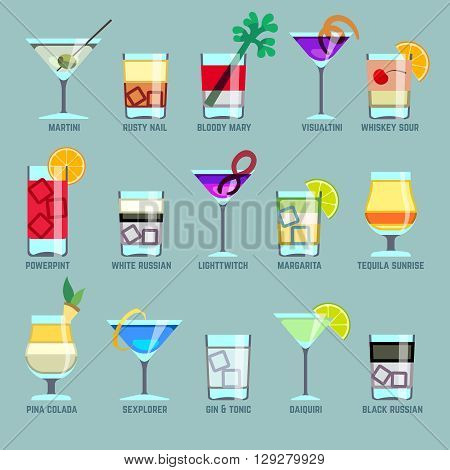 Alcohol drinks and cocktails flat vector icons. Drink cocktail, icon cocktail alcohol, glass cocktail illustration