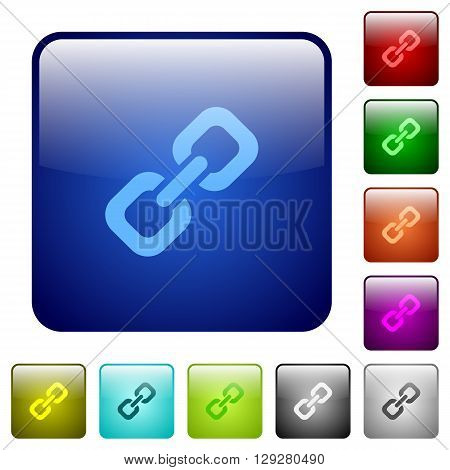 Set of color link glass web buttons.