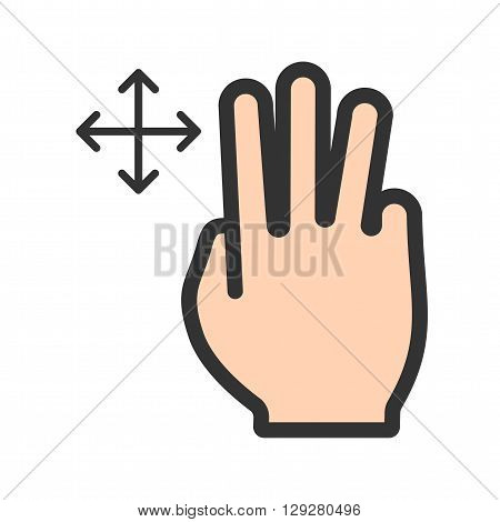 Move, fingers, scroll icon vector image.Can also be used for user touch gestures. Suitable for mobile apps, web apps and print media.