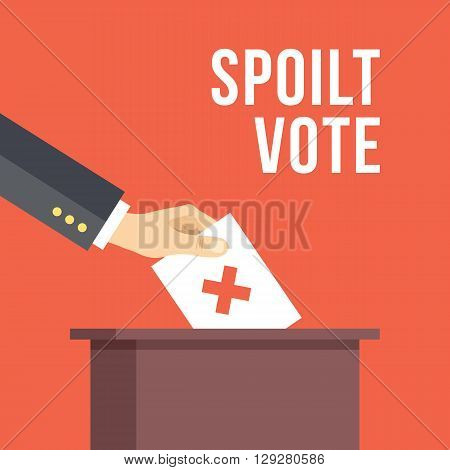 Spoilt vote. Hand put spoilt vote in ballot box. Creative flat design concepts for web banners, websites, printed materials. Vector illustration