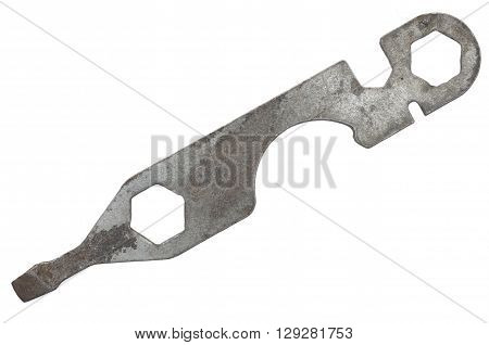 old bike wrench isolated on white background