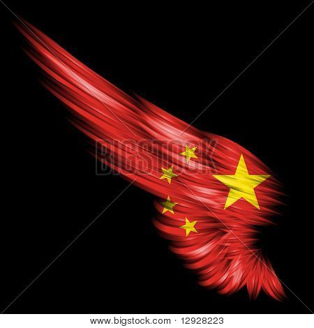 Abstract Wing With People's Republic Of China Flag On Black Background