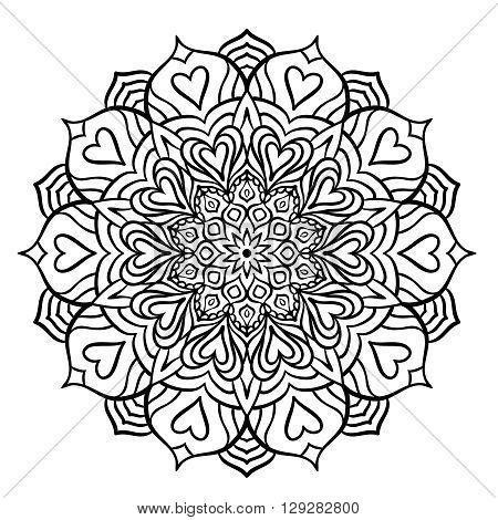 Black Mandala with Hearts for Coloring. Line mandala isolated on white background. Outline mandala for coloring page. Intricate mandala design. Vector mandala.