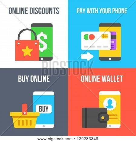 Online discount, pay with your phone, buy online, online wallet flat illustration concepts set. Modern flat design for web banners, web sites, printed materials, infographics. Vector illustration