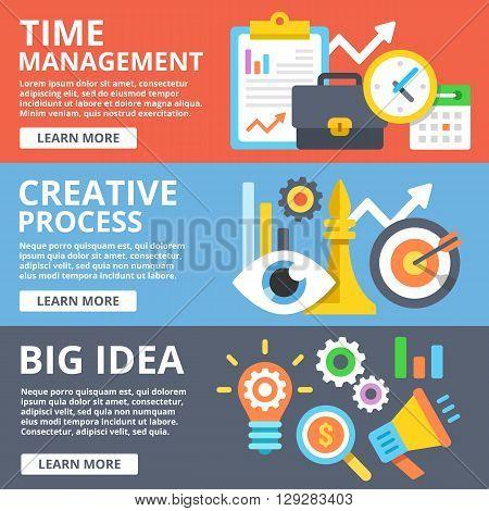 Time management, creative process, big idea flat illustration concepts set. Creative modern flat design concept for web banners, web sites, printed materials, infographics. Vector illustration