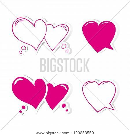 Heart shaped speech bubbles set. Design elements for Valentines day, wedding or baby shower invitation, scrapbooking etc. Vector illustration
