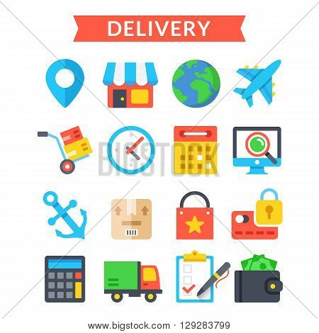 Delivery icons set. Shipping, delivery, logistics, warehouse, goods tracking. Modern flat design, material design icons set for for web sites, web banner, mobile apps, infographics. Vector icons set