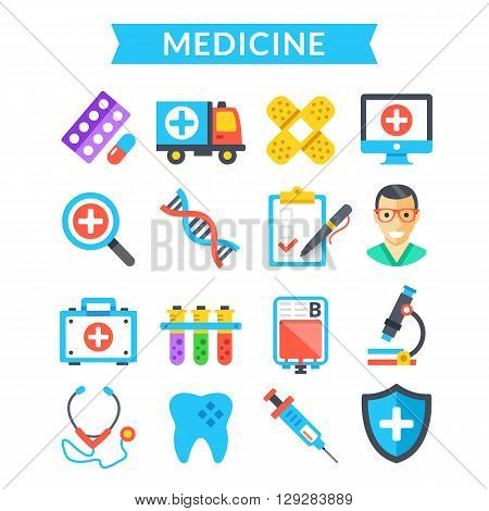 Medical icons set. Medicine, treatment, science, healthcare, diagnostics concepts. Modern flat icons, colorful design icons set for websites, web banners, mobile apps, infographics. Vector icons set
