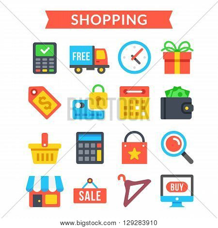 Shopping icons set. Shopping, online commerce, retail, ecommerce, internet marketing concepts. Modern flat design icons set for website, web banners, mobile apps, infographics. Vector icons set