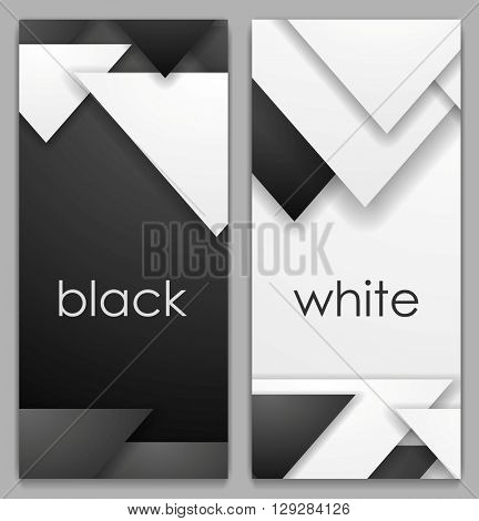 Black and white geometric tech vertical banners. Vector abstract technology background design