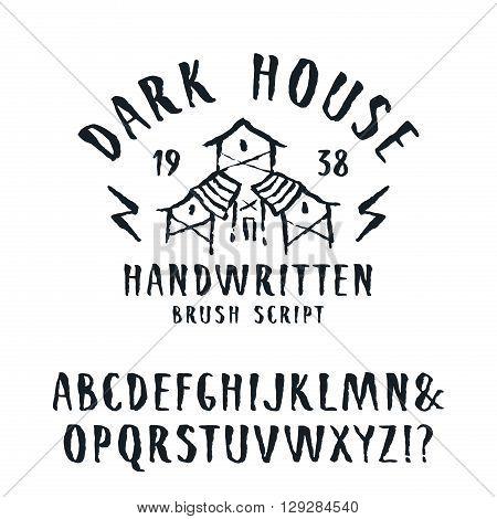 Vector handwritten brush font in horror style. Isolated on white background