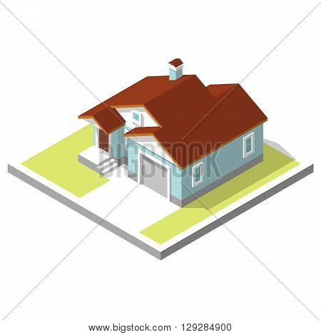 3D isometric image of a private house, village