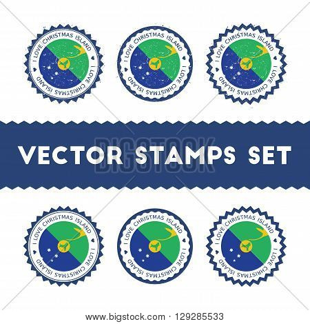 I Love Christmas Island Vector Stamps Set. Retro Patriotic Country Flag Badges. National Flags Vinta