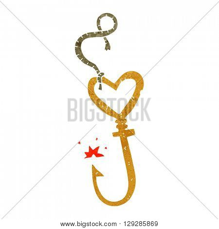 freehand retro cartoon love heart fish hook