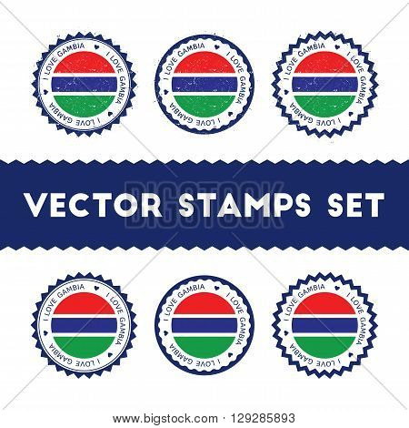 I Love Gambia Vector Stamps Set. Retro Patriotic Country Flag Badges. National Flags Vintage Round S
