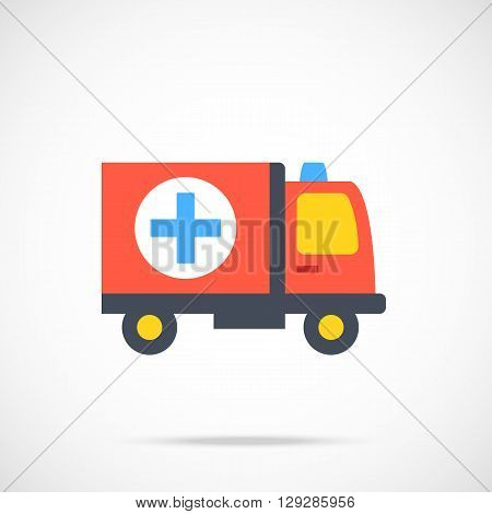 Vector ambulance icon. Modern flat design vector illustration concept for web banner, web and mobile app, web sites, printed materials, infographics. Vector icon isolated on gradient background