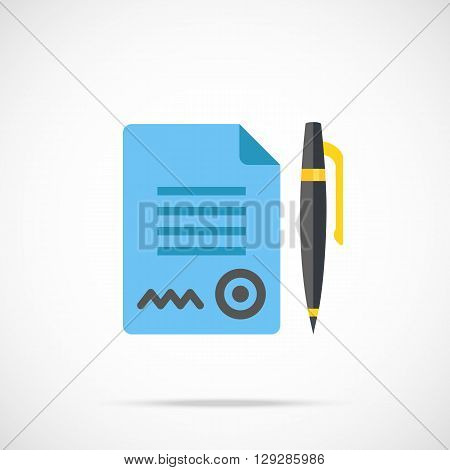 Vector contract and pen icon. Modern flat design vector illustration concept for web banner, web and mobile app, web sites, printed materials, infographics. Vector icon isolated on gradient background