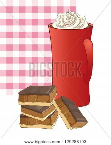 an illustration of a mug of coffee with whipped cream and some caramel shortbread with a pink gingham background
