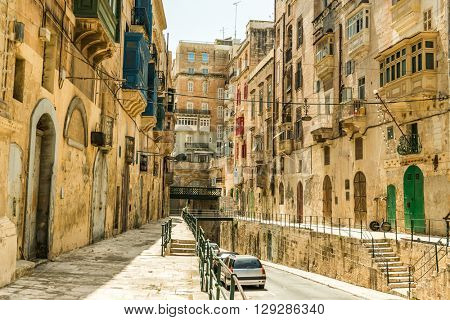Narrow street in Valletta - the capital of Malta