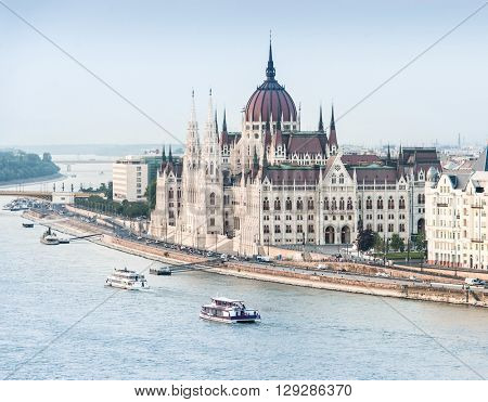 aerial photo of National Hungarian Parliament and Danube