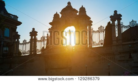 ornate arched gateway to the Buda Castle Or Royal Palace in Budapest, Hungary