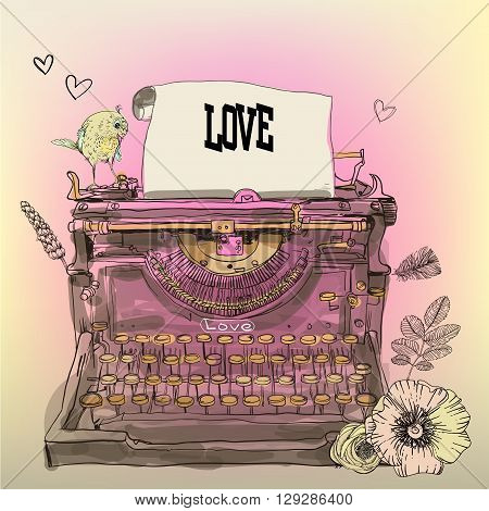 Vintage Vector Typewriter with flowers and bird