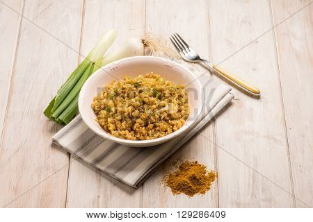 rice with leek and curry