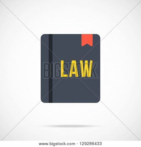 Vector law book icon. Modern flat design vector illustration concept for web banners, web and mobile app, web sites, printed materials, infographics. Vector icon isolated on gradient background