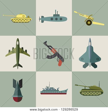 Military equipment and weaponry flat icons. Army warship, army plane, army equipment illustration