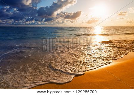 Beautiful Sunrise On Caribbean Beach