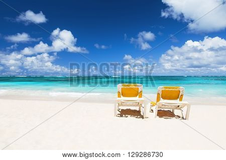 Beach Chairs And Beautiful Sand Beach
