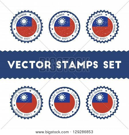 I Love Taiwan, Republic Of China Vector Stamps Set. Retro Patriotic Country Flag Badges. National Fl
